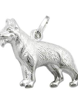 Anhänger 14x20mm Schäferhund glänzend Silber 925