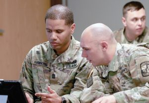 FORT CARSON, Colo. — Cadet Antonio Hawkins and a fellow cadet review class material at the University of Colorado Colorado Springs Feb. 12, 2019. Hawkins is a former active-duty NCO looking forward to commissioning in May 2020. (Photo by Sgt. Elizabeth C Harris)