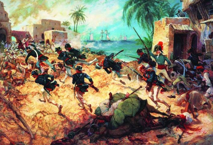 Assault on Derna, Tripoli, 27th April 1805, by C.H. Waterhouse