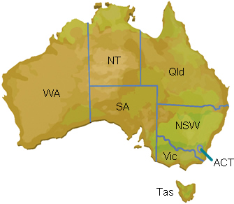 Facts for students   Australia   FTfs Map of Australia