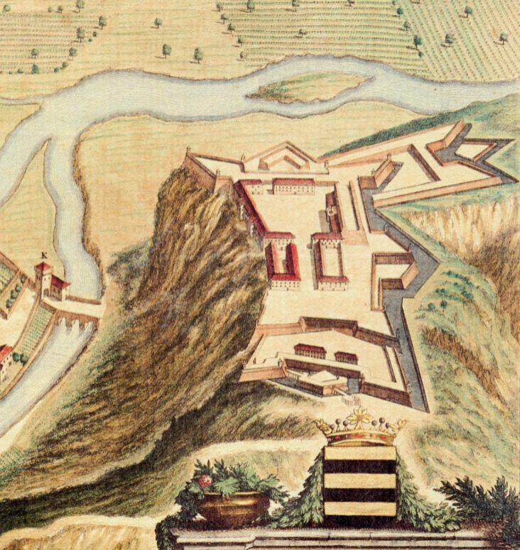 Giovanni Tommaso Borgonio, Ceva civitas antiqua et marchionatus eiusdem nominis caput, 1675, particolare (Theatrum Sabaudiae, 1682)