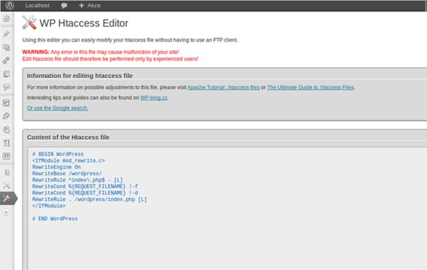 Editing htaccess file