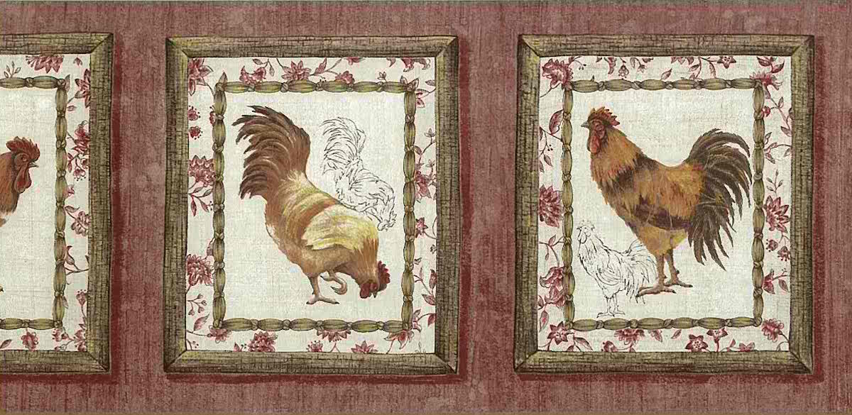 Waverly rooster kitchen vintage border, red, faux finish, French country