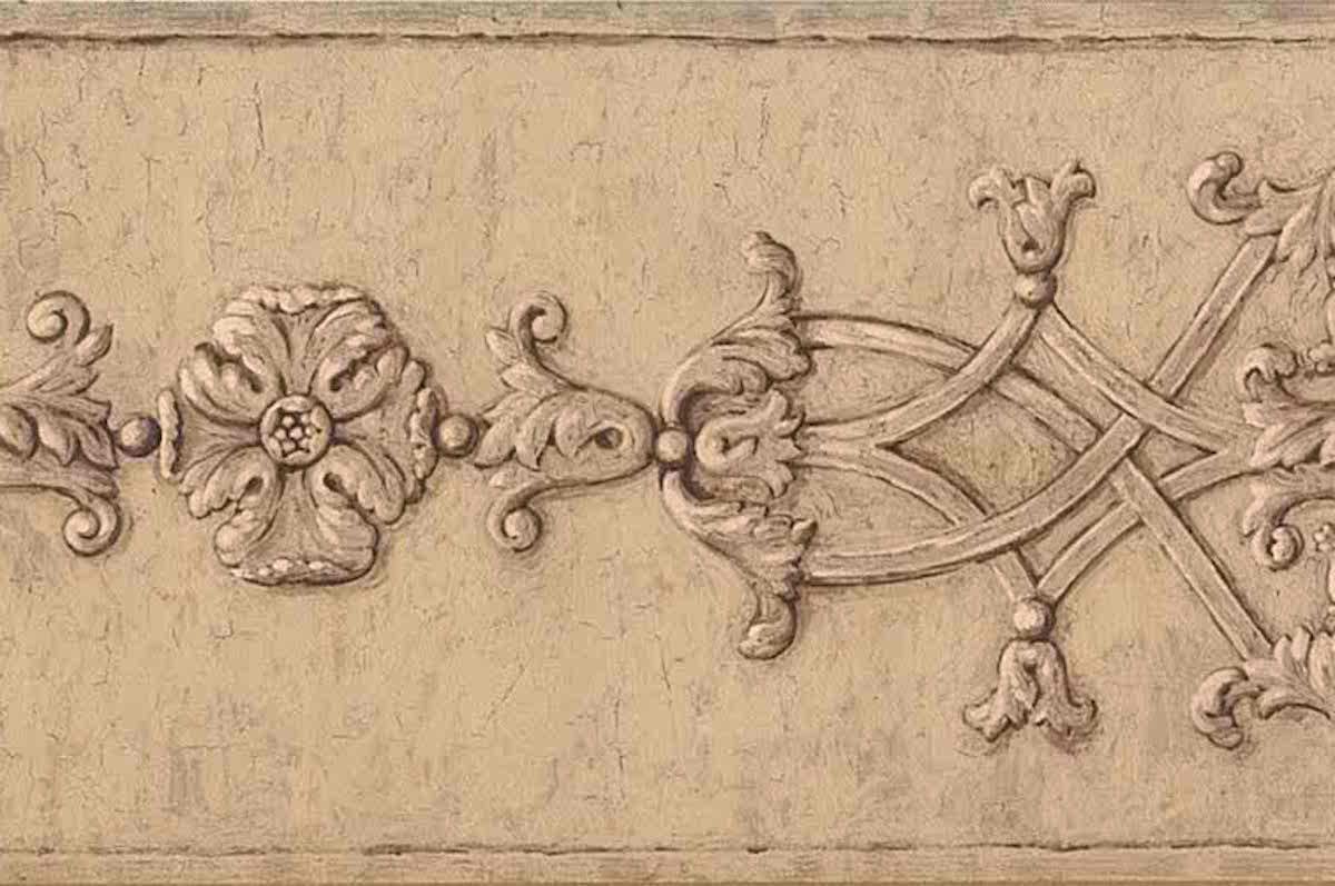 beige architectural wallpaper border, brown, cream, crackled finish, medallions