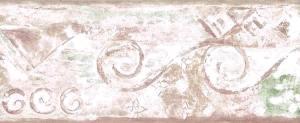 vintage wallpaper border modern, contemporary, beige, green, off-white, triangles, diamonds, swirls, kitchen, study,