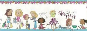 Girls wallpaper border, Black, Hispanic, Asian, Caucasion, blue, pink, floral, girfriends, shopping, sleeping