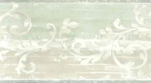 beige scroll vintage wallpaper border, green, cream, textured