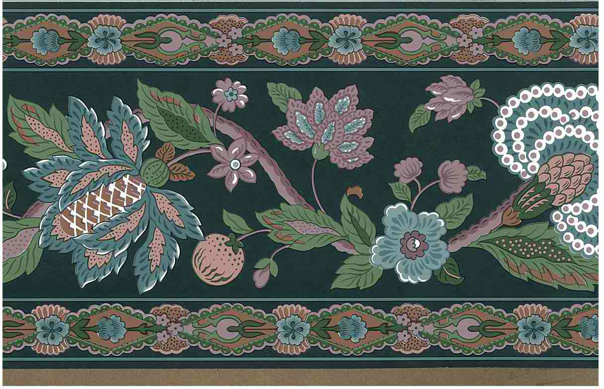 Paisley Floral Vintage Wallpaper Border Green 557501