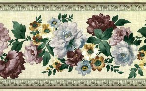 linen floral vintage wallpaper border, Dutch Master, peonies, purple, lavender, pink ,white, textured