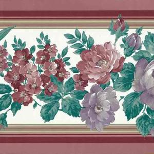 Floral Vintage Wallpaper Border Red Maroon Lavender B.1275 FREE Ship