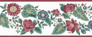 sunflowers floral vintate border,wallpaper border, red, blue, green, Waverly-like, sylized flowers, cottage style