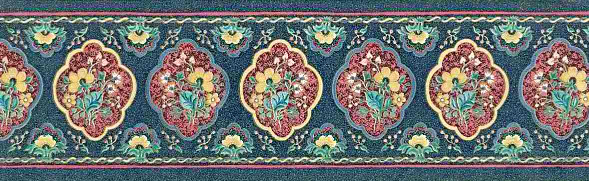 Floral cameos vintage border, navy, blue, red, green, yellow, paisley, dining room