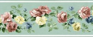 Mint Green Vintage Wallpaper Border, roses, floral, pink, blue, yellow