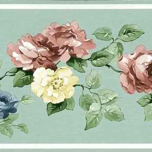 Mint Green Vintage Wallpaper Border Floral Roses CH7154B FREE Ship