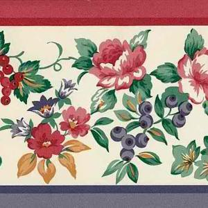 Roses Fruit Vintage Wallpaper Border Kitchen Purple 890-1302 FREE Ship