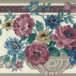 Floral Urn Vintage Wallpaper Border Roses B24794 FREE Ship