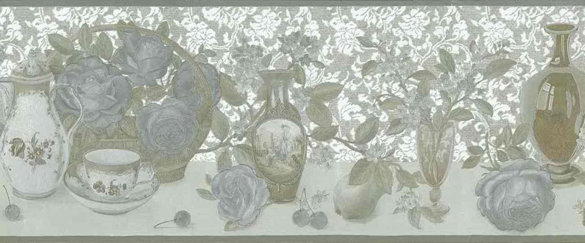silver gold vintage wallpaper, border, roses, floral, flowers, kitchen, dining room, metallic, textured