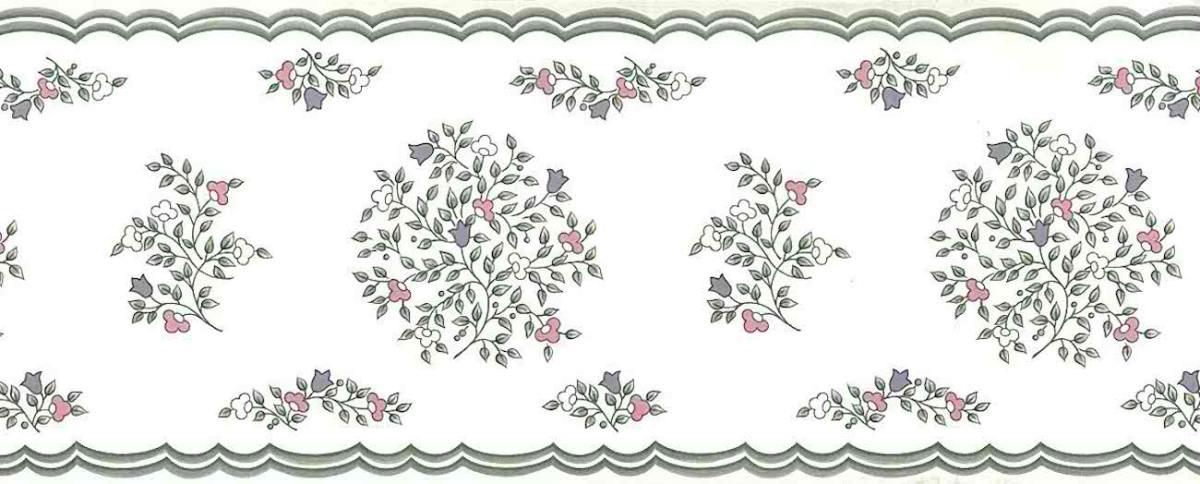 stencil floral vintage wallpaper border, gray, pink, white, cream
