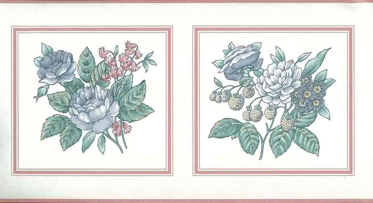 pastel vintage floral border,wqallpaper border, floral, pink, blue, green, off-white, bedroom