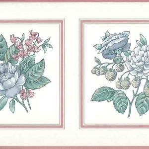 Pastel Vintage Floral Border Pink Blue 595692 FREE Ship
