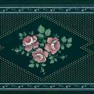 Green Sampler Vintage Border Floral Roses Pink AW3193 FREE Ship