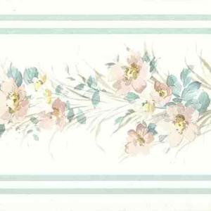 Floral Satin Vintage Wallpaper Border Pink Blue 56515849 FREE Ship