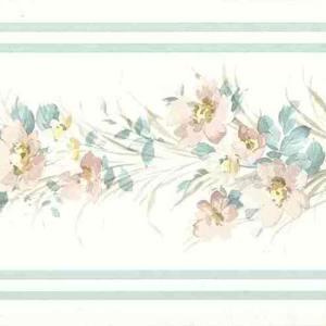 Floral Satin Vintage Wallpaper Border Pink Blue 56515849 FREE Ship