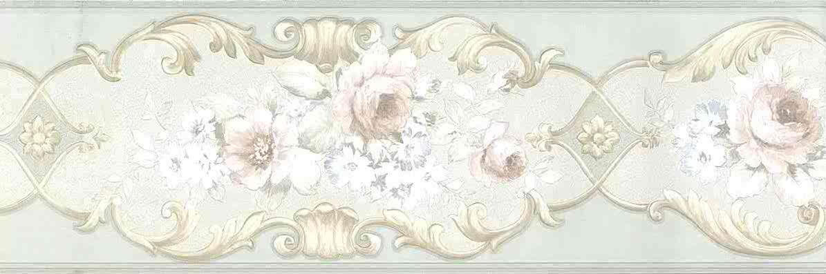 green floral vintage border, pink, cream, scroll, flowers, roses, anemones, Italy, textured