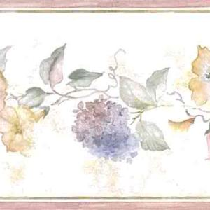 Morning Glories Vintage Wallpaper Border Hydrangeas Floral B.0643 FREE Ship