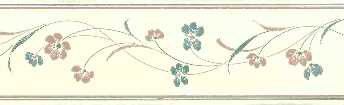Stencil floral vintage wallpaper border, blue, pink, cream, hand print look, kitchen, bedroom