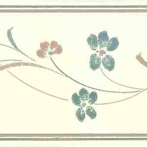Floral Stencil Vintage Wallpaper Border Blue Pink CH6063B FREE Ship