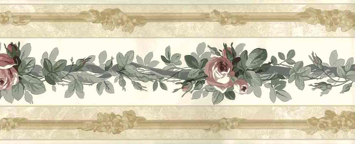 Roses vintage wallpaper border, floral, pink, gray, beige, pearlized