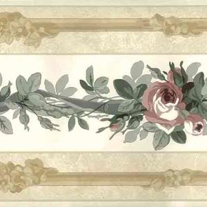 Roses Vintage Wallpaper Border Floral Beige Gray NM5200 FREE Ship
