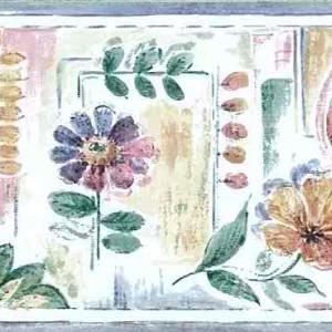 Summer Floral Leaf Wallpaper Border Blue Pink 750-2602 FREE Ship