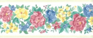 pastel vintage floral border, yellow, pink blue, green, white, English, cottage, checks, peonies, anemones