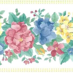 Pastel Floral Vintage Border Pink Blue Yellow UK B.1752 Free Ship