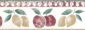 lemons apples vintage kitchen border, red, green, yellow, country, Americana