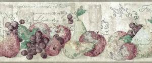 kitchen wallpaper border, taupe, apples, pears, grapes, faux finish, plaster, French script, fruit