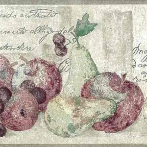 Kitchen Wallpaper Border Fruit French Script Taupe Red VG8609B