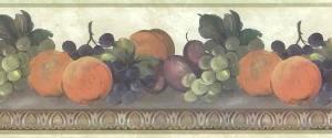 egg dart kitchen vintage border, wallpaper border, vintage, fruit,peaches,grapes,plums,cottage