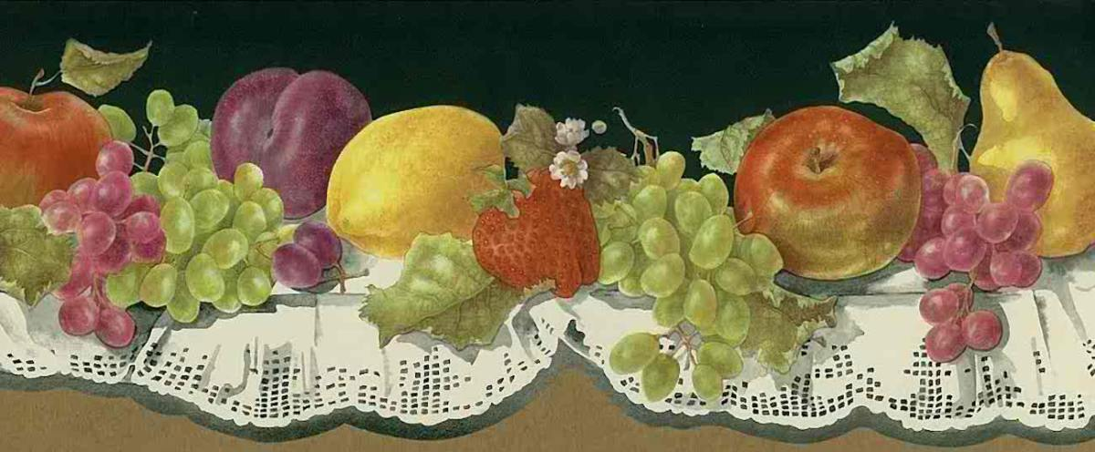 lace fruit kitchen vintage border, green, apples, strawberries, plums, grapes, pears, red, cutout