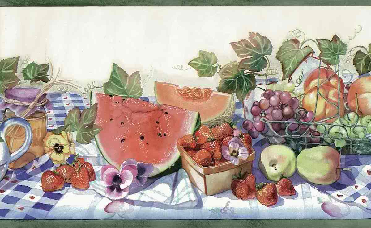 picnic kitchen wallpaper border,cottage, Americana, country, red, fruit, floral, watermeloj, strawberries, grapes, apples, ivy, pansies, red, blue, checked tablecoth