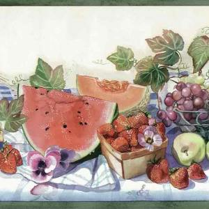 Picnic Kitchen Wallpaper Border Fruit Ivy 0135-3 FREE Ship