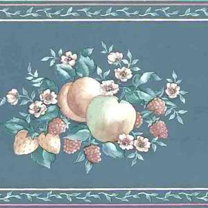 Peach Teal Vintage Wallpaper Border Fruit Floral Kitchen B657 FREE Ship