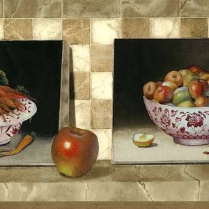 Apples Carrots Vintage Wallpaper Border Kitchen Country 590602 FREE Ship