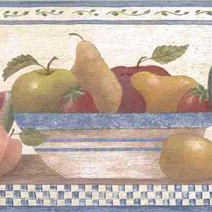 Vintage Wallpaper Fruit Border Kitchen Apple Pear 245B57484 FREE Ship