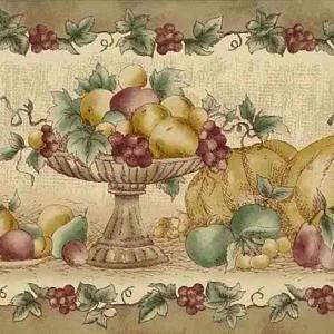 Fall Fruit Vintage Wallpaper Border Beige Kitchen 92-04257 FREE Ship