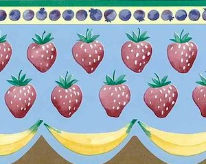 Strawberries Vintage Kitchen Border Blue Waverly 574221 FREE Ship