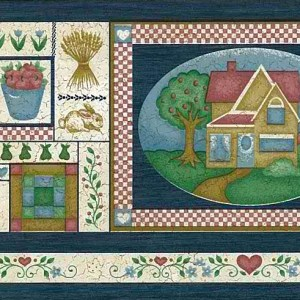 Americana Country Vintage Wallpaper Border Kitchen 7007-448 FREE Ship