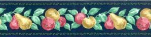 vintage fruit kitchen wallpaper border, blue, red, yellow green, navy, self-stick, scrubbable
